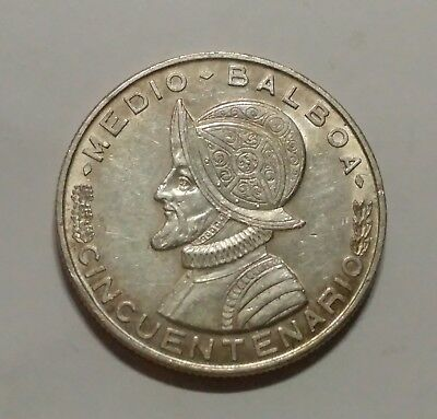 Panama 1953 Silver 1/2 Balboa  KM 26 Silver Low Mintage  Of Only 600,000