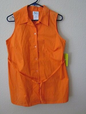 NWT Duet Designs Maternity Orange Sleeveless Self-Tied Tunic Top L