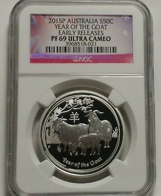 2015 Australia Lunar Year Of The Goat  1/2 oz Silver Proof Coin NGC PF69 UC
