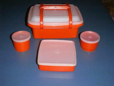 Tupperware PAK-N-CARRY Lunch Box #1254, Sandwich Keeper, Kit Kup & Snack Cup RED