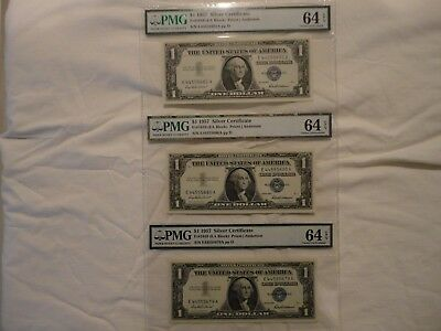 Three (3) connected 1957 Silver Certificates, PMG graded 64, Choice Uncirculated