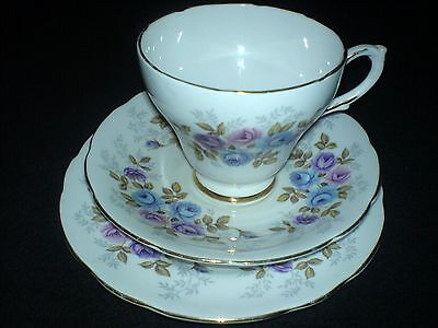 SUTHERLAND SUT58 Bone China Cup/Saucer/Plate Trio Set Multi Colour Rose Design