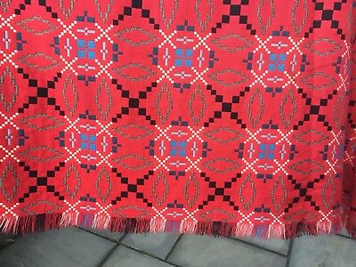 "Vintage 60s Welsh Wool Blanket Throw Bedspread light red colour mix 96"" X 66"""