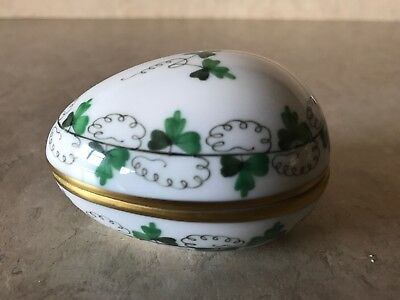 HEREND Persil Gold Trimmed Covered Egg or Trinket Box Handpainted in Hungary