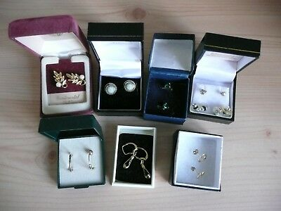 Job Lot Of 9 Vintage Used Costume Earrings For Pierced Ears 3 Silver Gold Plated