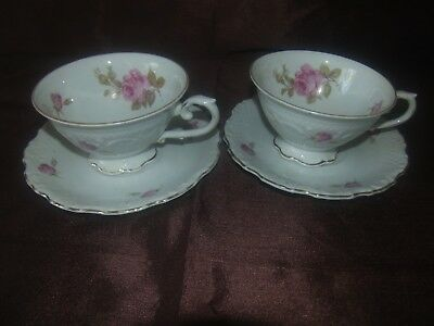 Lot of 2 Schumann Germany Cups & Saucers Pink Roses