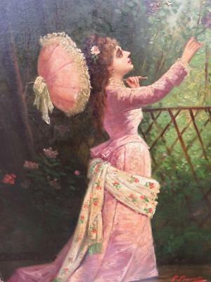 French Romantic School Oil - Woman With Parasol Picking Flowers - Silk Dress