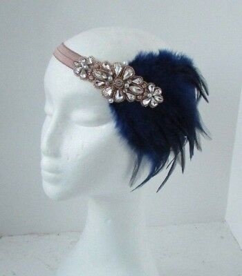 Navy Blue Rose Gold Nude Feather Headpiece 1920s Headband Flapper Gatsby 6471