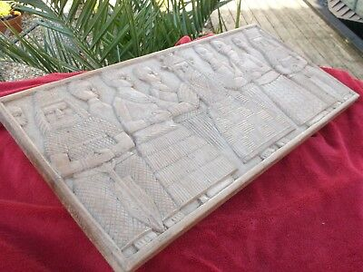 Large Antique African Benin Culture Wood Carved Panel w/ Human Figures Stunning