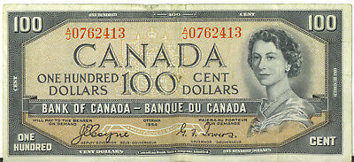 Bank of Canada 1954 $100 Hundred Dollars Coyne-Towers A/J Prefix VF Devil's Face