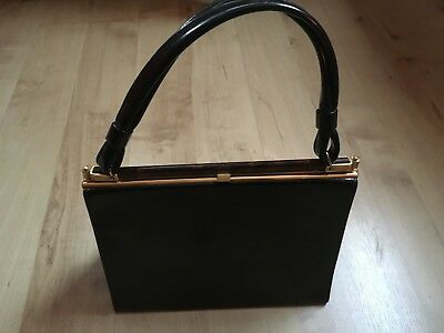 Vintage Essell Black Patent Leather Small Kelly Hand Bag