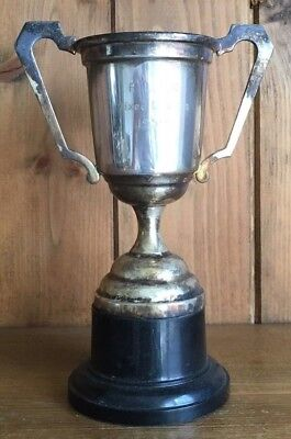 vintage medium 1959 silver plate tennis trophy, trophies, loving cup, tennis