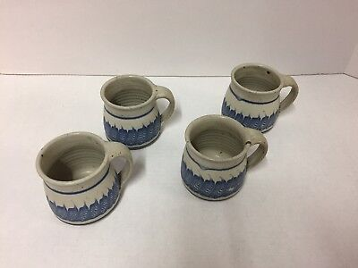 Mark Nafziger Art Pottery Mug Cup Lot of 4