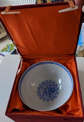 Vintage Chinese Egg-Shell Porcelain Bowl in Original Box