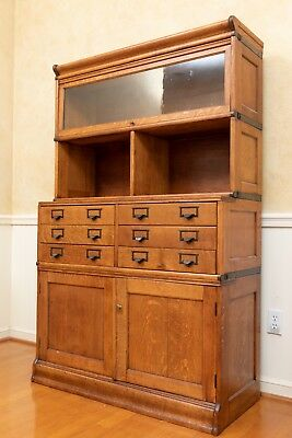 One-of-a-Kind Globe Wernicke Tiger Oak Barrister Bookcase