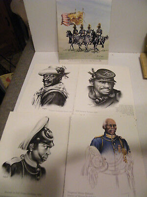 lot of 5, 8 x 10 buffalo soldier prints, paul rossi