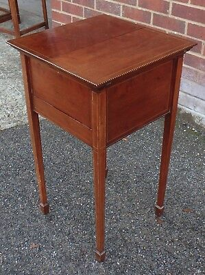 Edwardian antique solid mahogany chequer inlaid sewing craft box table stand