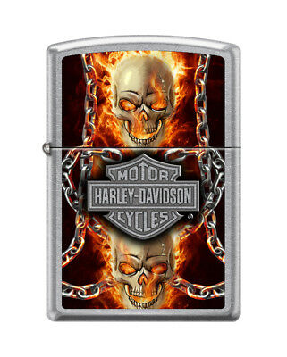 Zippo 7376, Harley Davidson-Skull, Street Chrome Finish Lighter, Full Size
