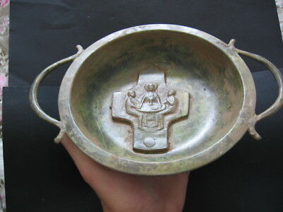 BYZANTINE MEDIEVAL ORTHODOX CHRISTIANS BRONZE BOWL CROSS 10-12 ct. A.D.