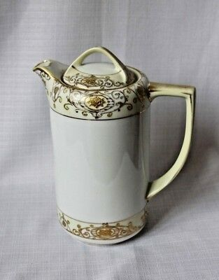 Noritake Coffee Tea Or Chocolate Pot - Hand Painted Rose Gold Accents - Japan