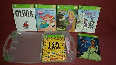 Leap Frog Tag Readers Pink Reading Pen Carrying Case 6 Books