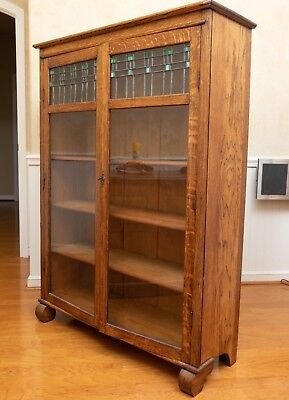Antique Larkin Mission Oak Bookcase Leaded Glass China Curio Arts & Crafts