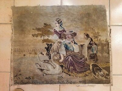 antique (1869) English Petit-Point tapestry hand-needled  People & swans signed