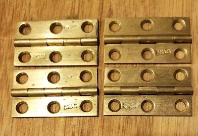 Lot of 4 Vintage matching solid brass hinges antique hinges Made In England NOS