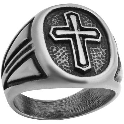 NEW Stainless Steel Crusader's Cross Ring With Medieval Look & Design Size 12