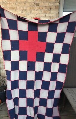 """RARE Vintage American Red Cross Blanket Milwaukee Chapter 88""""x51"""""""