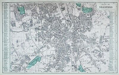 1883 Large Map Plan Bradford Town Hall Parish Church Exchange Railway Station