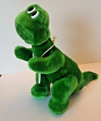 "Sinclair Oil & Gas Sinclair Dino wearing Plush Green Brontosaurus 12"" 1983"