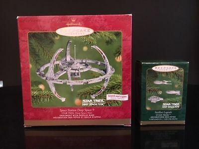 """Star Trek Hallmark Ornaments - """"Space Station Deep Space 9"""" and 3 Ships - 2001!"""