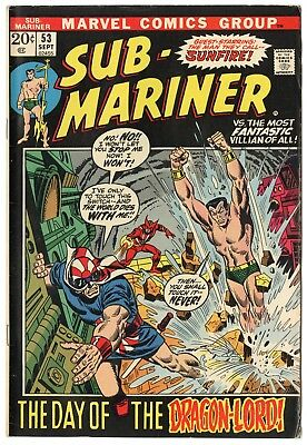Sub-Mariner #53 VF- 7.5 ow/white pages  Marvel  1972  No Reserve