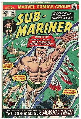 Sub-Mariner #63 VF/NM 9.0 ow/white pages  Marvel  1973  No Reserve