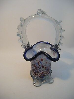 Vintage Murano Glass Small End of Day Posy Basket Vase