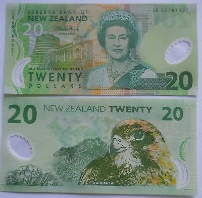 2006 ~ New Zealand banknote $20  Perfect polymer  UNC previous issue BOLLARD