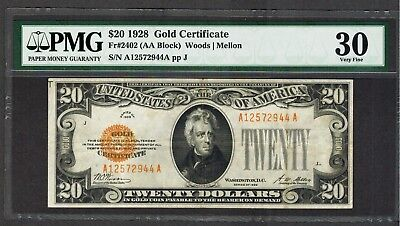 1928 $20 Gold Certificate PMG 30 comment