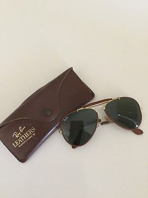 Ray Ban Leather Vintage Aviator G15 B&L 58mm Mint OUTDOORSMAN
