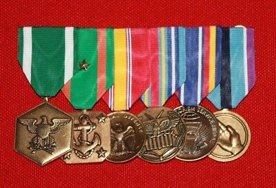 USN US Navy USMC US Marine Corps 5 Mounted Full Size Medals Chest Candy