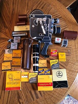 Bolex Paillard H16 Reflex 16MM Movie Camera with Lens, Manual & supplies