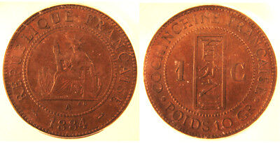 French Cochin China 1884 Centime. IGC MS63 Brown Patina
