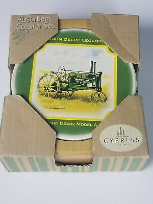 John Deere Absorbant Stone Coaster SET OF 4 coasters. NEW! Cypress home.