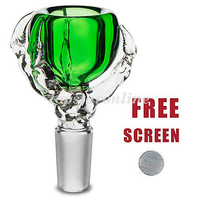 Green 14mm Dragon Claw Glass Bowl With Free Screens USA Fast Free Shipping