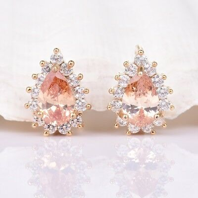Unique Women Engagement Pear Champagne Sapphire Crystal Gold Huggie Earrings