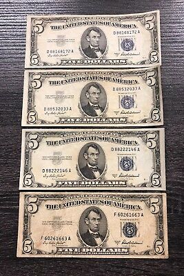 Lot Of (4) 1953-A $5 Silver Certificate Notes United States Paper Money