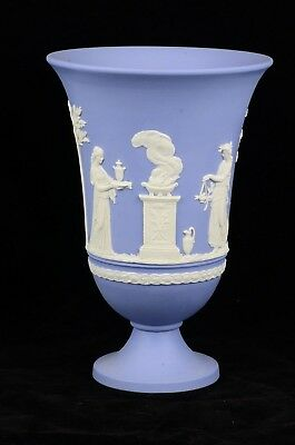 "Vintage Wedgwood Blue & White Jasperware Large 7.5"" Tall Urn Vase"