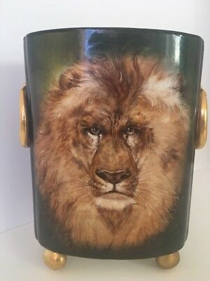 Antique Hand Painted Regal Lion William Guerin Limoges Cache Pot Artist Signed