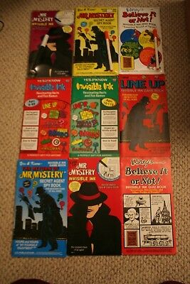 Invisible Ink GAME and QUIZ Book LOT! 9 Books NEW and USED Magic