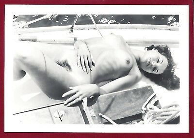 1950's Vintage Nude Photo~Perky Breasts Hairy Bush Petite Pinup Outside in Boat
